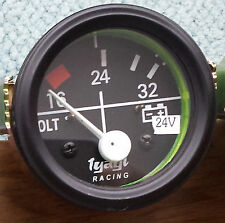 "VINTAGE CAR 2"" 52MM DIAL GAUGE UNIVERSAL 16-32 VOLTMETER CLOCK 24V BLACK-M613A"