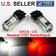 2X 3157 SRCK CK Dual Color White/Red Switchback LED DRL Turn Signal Light Bulbs