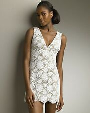 NWT MICHAEL KORS Floral Eyelet Lace Lined Mini Wedding Rehearsal Dress white S 2