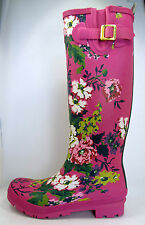 NEW Joules Welly Pink Floral Print Tall British Rain Mud Rubber Boots Womens 8