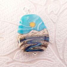 Southwest River Sunset Lampwork Glass Pendant in .925 Sterling Silver Jewelry