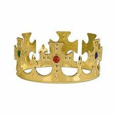 NEW King & Queen Gold Plastic Jeweled Crown & Tiara Costume Halloween Sets