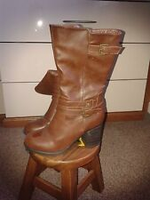 Ladies Faux Brown Leather High Leg Boots Size 7 Worn Once
