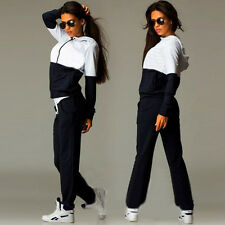 Womens Ladies 2Pcs Tracksuit Hoodies Sweatshirt Pants Set Sport Wear Casual Suit