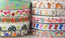 "10YD Mixed 7/8"" Animals Owl Flowers Grosgrain Ribbon Hairbow bow Craft"