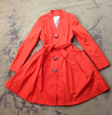 ANTHROPOLOGIE ELEVENSES Orange Puddle Chaser Belted Skirted Trench Coat Jacket 4