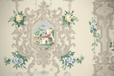 1950's Vintage Wallpaper Scenic with Blue and Yellow Roses