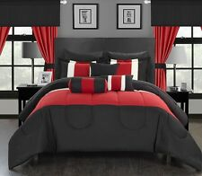 New 20 Piece Comforter Set Bed in a Bag King Size Bed Bedding Bedroom Red Black