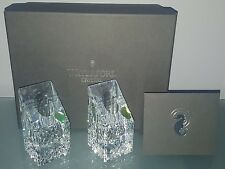 "GN) Waterford Crystal Lismore Essence 4"" Candle Holders Candlesticks Pair Square"