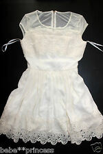 NWT bebe ivory white lace cutout back mesh flare sexy top dress M medium party