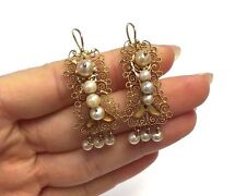 Romantic and Delicate Antique Spanish Colonial Filigree 10K Gold Pearl Earrings