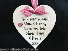 Best Mum - Mummy - Granny - Nanny Personalised Heart Plaque with any message.