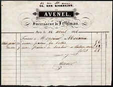 Facture. Bottier. Avenel. Paris. 1825