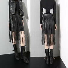 Ladies Fringed Hippie Boho Fringe Tassel Black Faux Leather PU Long Belts Skirts