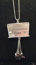 """NEW """"2 Teach Is 2 Touch a Heart 4 Ever"""" Pewter Car Charm"""