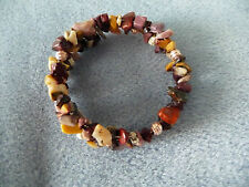 Memory Wire Bracelet made with Mookaite Chips & Rose Gold coloured Spacer Beads