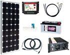 100 Watt Camping Solaranlage, 12 Volt SET mit Spannungswandler und Batterie