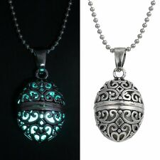 Glow in the Dark Stainless Steel Chain Locket Necklace Pendant Christmas Gift