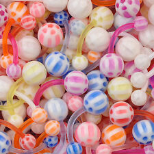 LOT 50 pcs Pastel Checker Assortment FLEXIBLE Belly Button Rings MIX Piercing