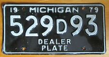 Michigan 1979 DEALER License Plate NICE QUALITY # 529D93