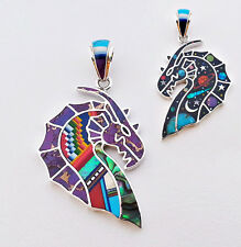 CLASSIC DRAGON CELESTIAL PENDANT IN TURQUOISE/MULTICOLOR  INLAY IN .925 SILVER