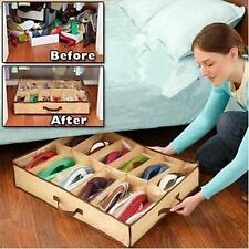 12 pairs Shoes Folding Closet Organizer Under Bed Storage Holder Box Container H