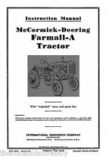 Farmall McCormick IH Model A OPERATOR MANUAL Parts List