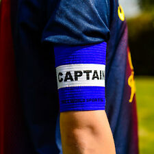 Football Captains Armband WHITE/BLUE JUNIOR Arm Band [Net World Sports]