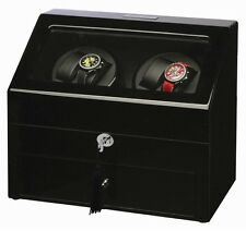Diplomat Automatic Gothica Black Wood Quad Four Watch Winder Leather Interior