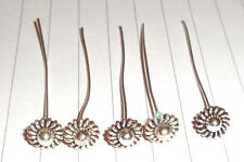 10 x FLOWER HEAD Tibetan Silver head Pins