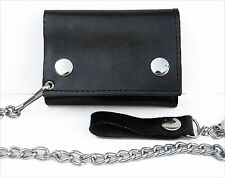 BLACK GENUINE LEATHER Biker's Wallet ID Card Holder w/ Chain Trifold New
