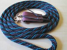 Rose Lodge 9' Poly Rope Trail Roping Barrel Horse REINS TEAL PURPLE BLACK USA