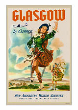 Pan Am - Glasgow Scotland 11x17 inch Vintage Airline Travel Poster