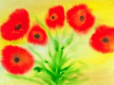 WATERCOLOR POPPIES PAINTING RED GREEN POPPY ART PRINT POSTER PICTURE BMP1029A