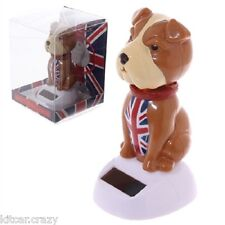 NOVELTY SOLAR POWERED NODDING BRITISH BULL DOG, DASHBOARD TOY, HOME OR CAR