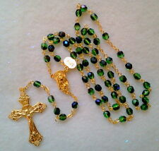 BLUE GREEN AZURO CRYSTAL ROSARY -18K GOLD PLATED MADE IN THE CZECH REP