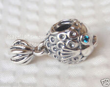 AUTHENTIC Pandora SPLISH-SPLASH Silver/Turquoise/Aqua FISH Charm~Bead 791108TPP