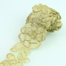 2yards Metallic Gold Embroidery Flower Lace Trim Bridal Wedding Lace Ribbon