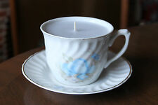 Teacup candle by Apulum, large, blue flowered pattern, denim blue paraffin wax