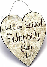 Chic Shabby Large And They Lived Happily Ever After Wooden Vintage Sign Plaque