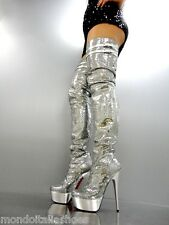 MORI ITALY LUXURY OVERKNEE PLATFORM SEXY BOOTS STIEFEL STIVALI LEATHER SILVER 41