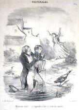 """Lithographie originale d'HONORE DAUMIER, """"Les Pastorales, Le Malheureux Enfant"""""""