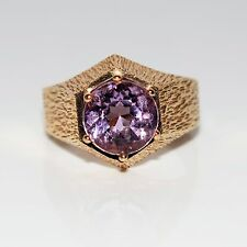 Retro Hexagonal Large Amethyst Yellow Gold Ring Size L ~ 5 3/4