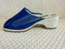 vintage 1970s shoes ladies blue mules by zizi made in france size 6