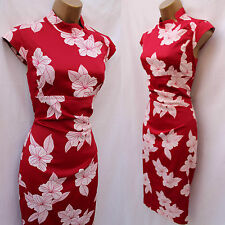 KAREN MILLEN Red White Satin Chinese Oriental Floral Cocktail Wiggle Dress 12 UK
