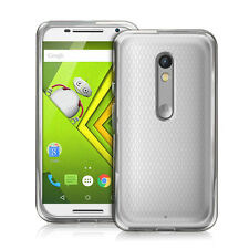 Motorola Moto X Play Ultra Thin Clear Gel Silicone Case Cover + Protector