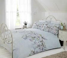 BIRD BRANCH FLORAL LACE PRINT DUCK EGG BLUE KING SIZE DUVET COVER 230X220CM