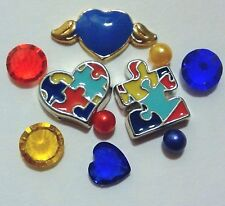 Floating Charm set Puzzle Piece Autism Heart Crystal Pearl for Locket