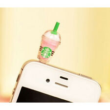 Starbucks Coffee Style 3.5mm Headphone Antidust Plug Cap for iPhone 4 4S Pink LW