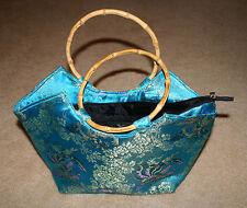 Oriental Turquoise Silk Brocade Medium Handbag with Bamboo Handles